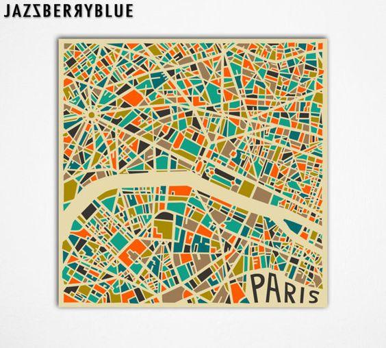 PARIS Map, Giclee Fine Art Print, Modern Abstract Wall Art, Home Decor (13x13) by Modern Artist Jazzberry Blue