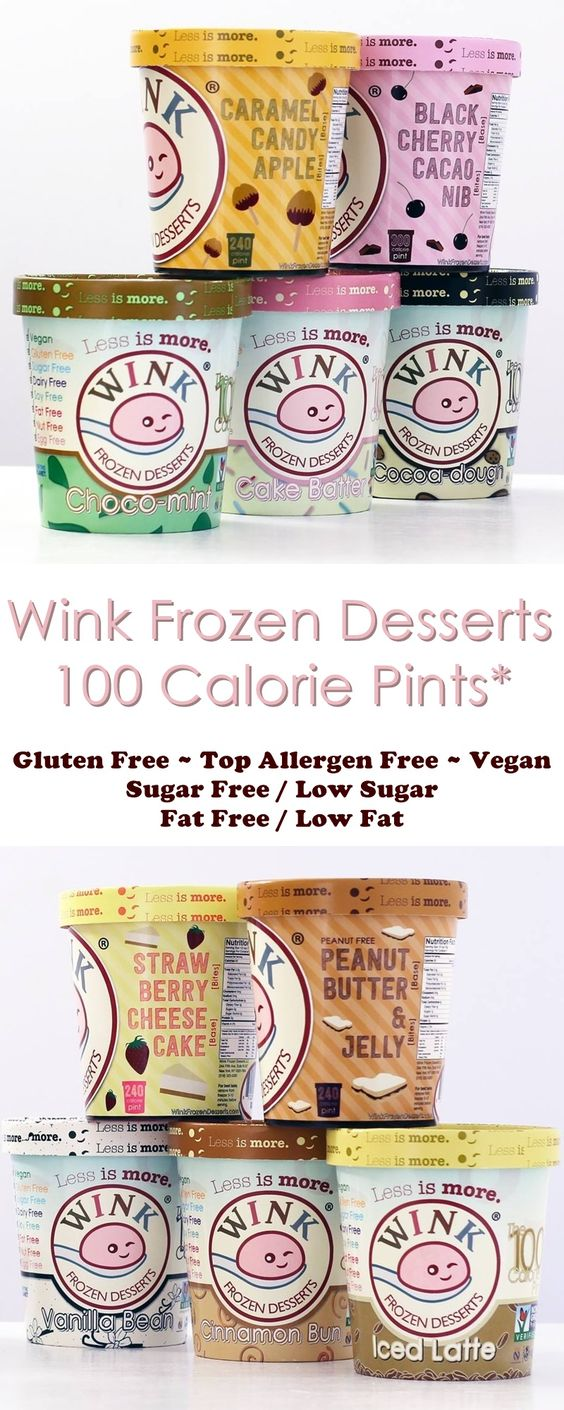 Wink Frozen Desserts - with 100 calorie PINTS that are vegan, gluten-free, sugar-free, fat-free and top allergen-free