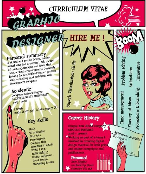 graphic designer cv in a comic book layout