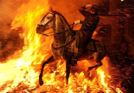 A man rides a horse through a bonfire on January 16, 2012 in the small village of San Bartolome de Pinares, Spain. In honor of San Anton, the patron saint of animals, horses are ridden through the bonfires on the night before the official day of honoring animals in Spain. (Jasper Juinen/Getty Images)