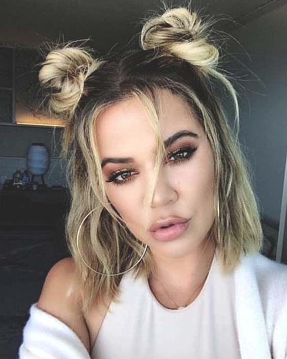 Khloe Kardashian Half Up Double Buns Hair W 2019 Style