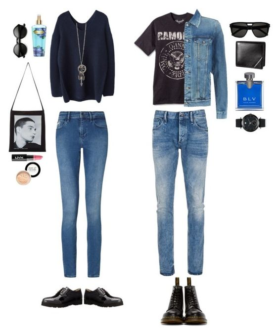 """Our kind of date"" by nabilci on Polyvore featuring Calvin Klein, Denham, 7 For All Mankind, Dr. Martens, Anyi Lu, Movado, Bulgari, Raf Simons, Victoria's Secret and Yves Saint Laurent"