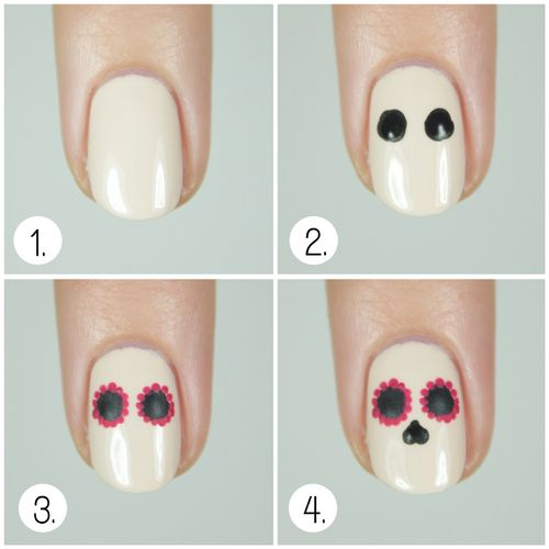 sugar skull nail art - Google Search