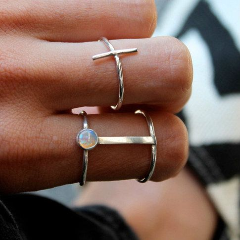 Shop a modern and unique silver double band opal ring handmade by Lumo Jewelry. Browse minimalist, contemporary and modern ring designs by Lumo