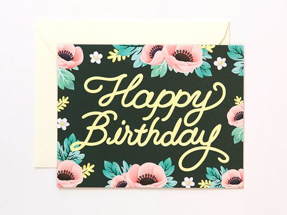 Anemone Birthday Card - Deep Green    5.5 x 4.25 inch / #100 White Uncoated Cardstock / Blank inside    1 EA includes a greeting card and an