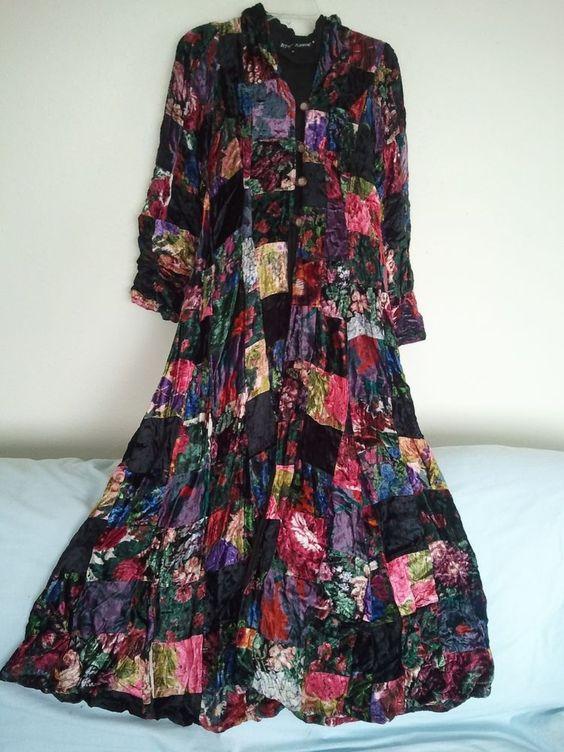 Rare Vintage Betsey Johnson Hooded Velvet Patchwork Long