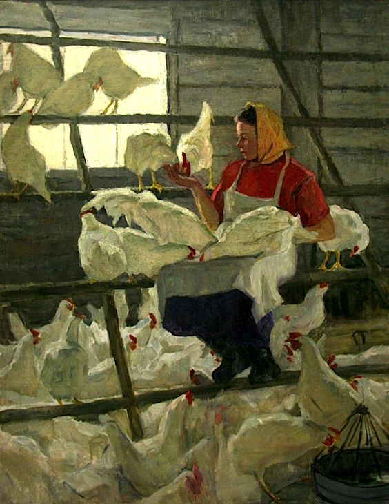 Feeding the Chickens, Antonina Dolinina. Russian, born in 1925: