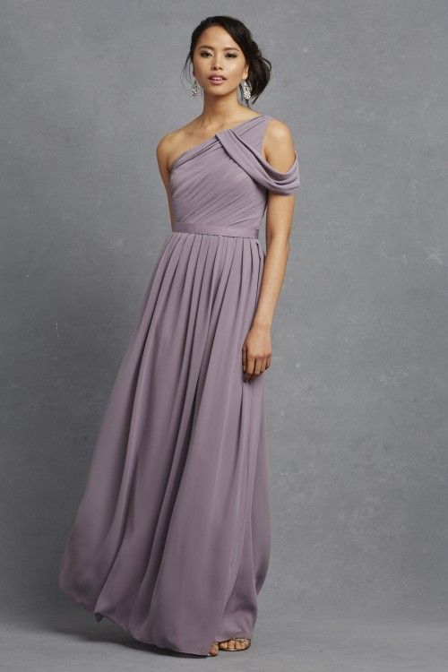 Donna Morgan Chloe dress in Grey Ridge // One shouldered bridesmaid dress // Long chiffon bridesmaids // Donna Morgan Serenity found at The Blushing Bride boutique in Frisco, Texas: