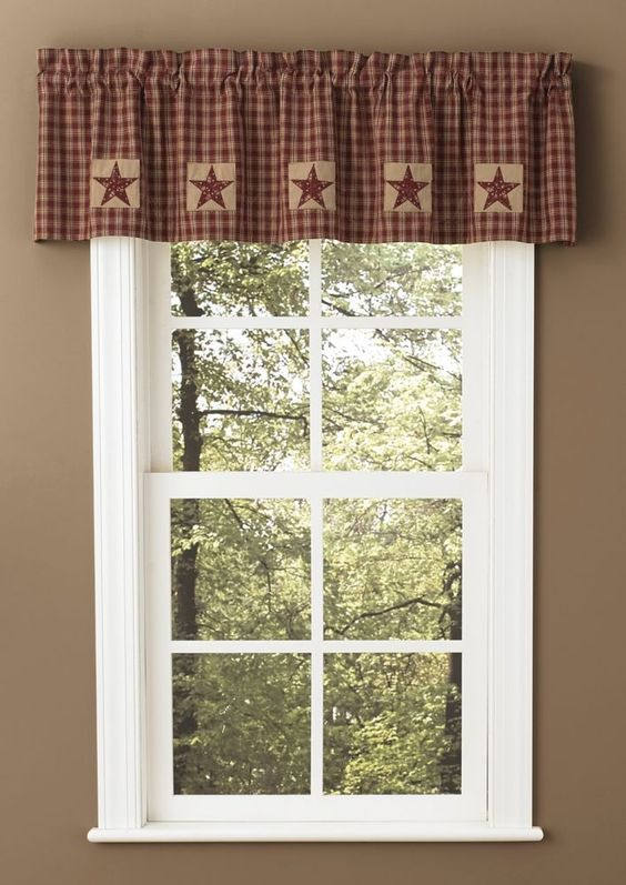 Primitive Country Wine & Tan Plaid Sturbridge Patch Lined Valance ...