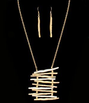 Ladder Style Asymmetrical Necklace & Earrings Set  2-Tone Gold Silver  $16.99 @modtoast   Very unusual set! I want this one.