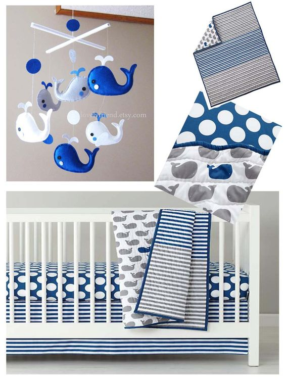 Baby mobile crib baby mobile happy swimming whales for Baby boy mobile ideas