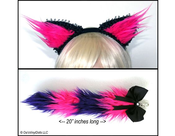 custom made pink purple cheshire cat ears tail set in 2 variations purple lining in ears halloween pinterest