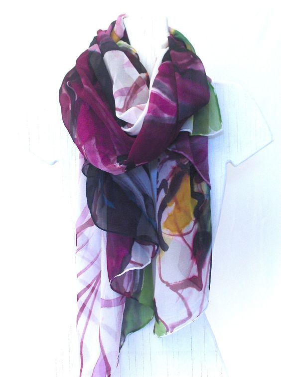 Hand Painted Silk Chiffon Shawl $168 Etsy