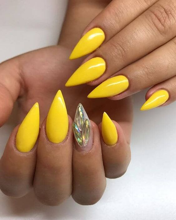 76 Stunning Yellow Acrylic Nail Art Designs For Summer Yellow Nails Design Yellow Nails Nail Designs Spring