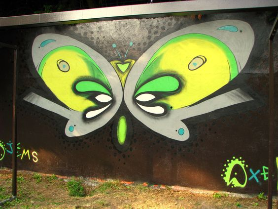 #james #axelska #graffiti #street_art #papillon #deco #wall #spray #marquette #mur_legal #fresque