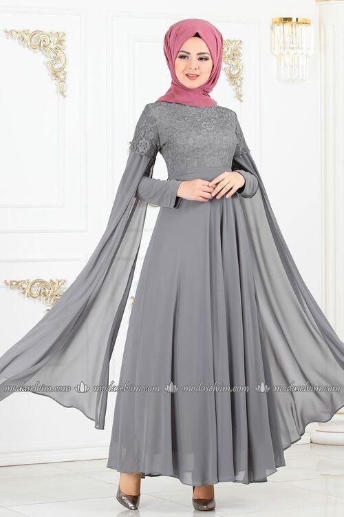 Modaselvim Abiye Dantel Detayli Abiye 81700bn105 Gri The Dress Aksamustu Giysileri Ziyafet Elbiseler