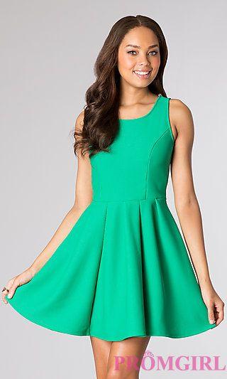 Short Casual Sleeveless Dress at PromGirl.com