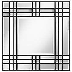 "Hughes 31 1/2"" Square Black Wall Mirror"