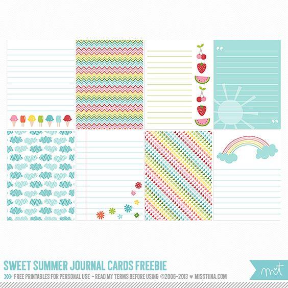 FREE Printables - Sweet Summer Journal Cards | MissTiina.com {Blog}