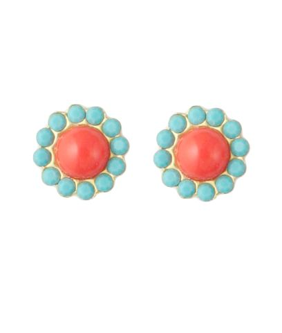 Coral & Turquoise Studs: Hope Stud, Color Combos, Bright Color, Turquoise Studs, Turquoise Earrings, Stud Earrings, Coral Earrings, Coral Turquoise, Color Combination