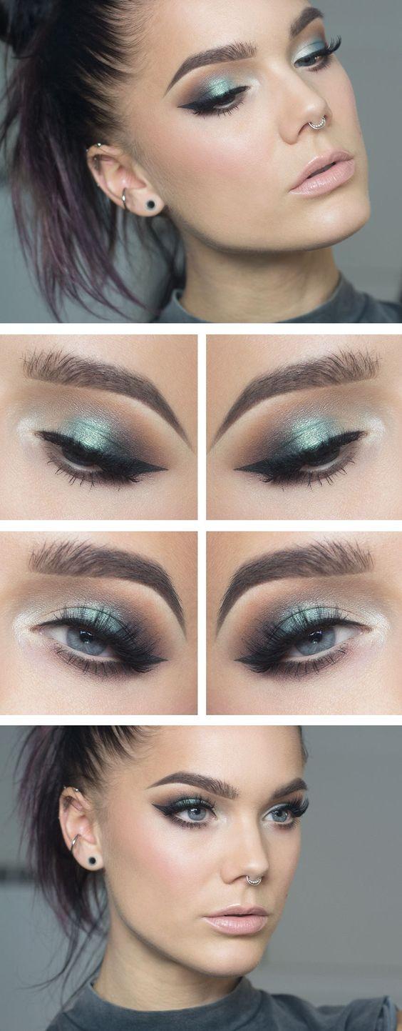 """Maquillaje Linda Hallberg - """"Envy"""" - multicolor verde azulado, gris y naranja sombra de ojos miran con delineador de ojos alados y barra de labios."""