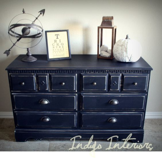 Distressed Black Dresser / Buffet / Changing by IndigoInteriors, $365.00