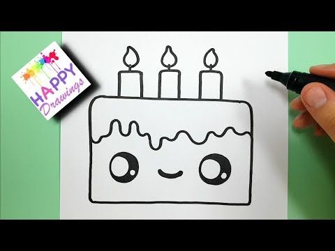 How To Draw A Cute Birthday Cake Easy Youtube Cake Drawing
