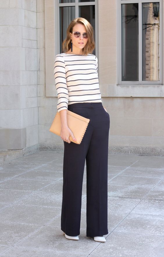 Navy wide-leg pants, striped 3/4 sleeve top, white pointy toe pumps