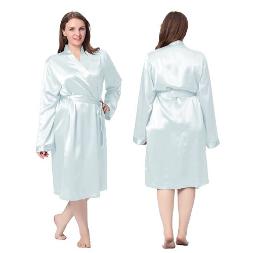 Incredibly soft and absorbent, #Classic Mid Light Sky Blue Plus Size Silk #Robe.| Lilysilk