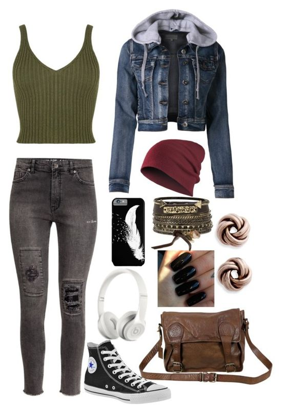 """""""Untitled #50"""" by mrhendricks ❤ liked on Polyvore featuring WearAll, H&M, LE3NO, VIPARO, Floss Gloss, Converse, Beats by Dr. Dre and BKE"""