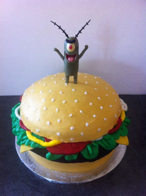 Cake Designs By Patty : Plankton gets the Krabby Patty cake!!! @Krys Wichman this ...