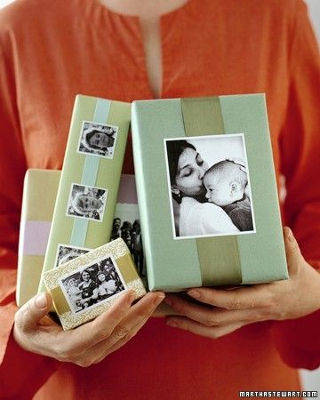 photo-topped giftwrap - could even just be photocopies