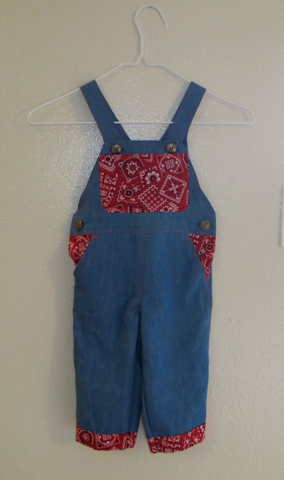 Denim Overalls with Red Bandana Size 1T/12mo. by Tailored4Tots, $35.00