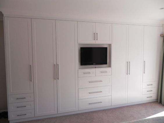 White Bedroom Cupboards With Stylish Television Built-in Cupboard Under Top Cabinet: Bedroom Cupboards Designs Furniture