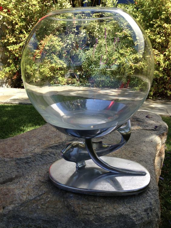 Vintage art deco fish bowl stand chrome mid century modern for Fish bowl stand