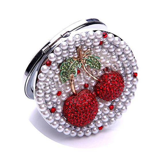 Eisen Kosmetikspiegel, mit Glas & Zinklegierung, flache Runde, plattiert, mit Kunststoff-Perlen & Emaille & mit Strass, 70x70x15mm, verkauft...