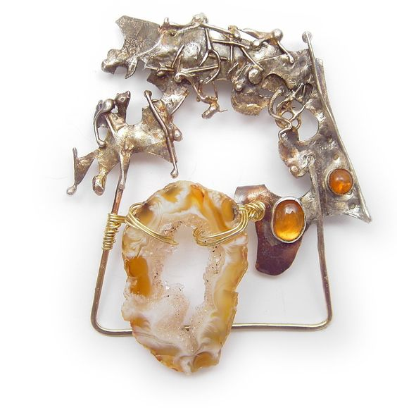 Crystal Cave amber and citrine Pin  Brooch  in Sterling Married Metals by Cathleen McLain McLainJewelry by mysticafelicity on Etsy