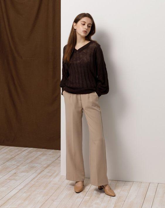 V領坑條微透感澎袖毛衣|女裝|MEIER.Q