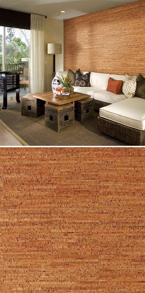 This cork wall covering is distinctive and elegant. And it's environmentally friendly. Cork is a natural temperature insulator, and the sound absorbing properties of cork will reduce noise transmission between and within rooms. The cork tiles are easy to install, too.