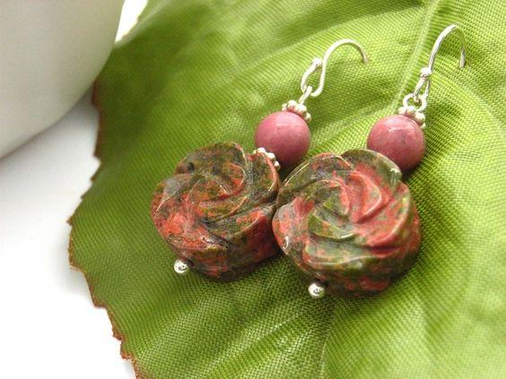 Earrings flower unakite and pink rhodonite