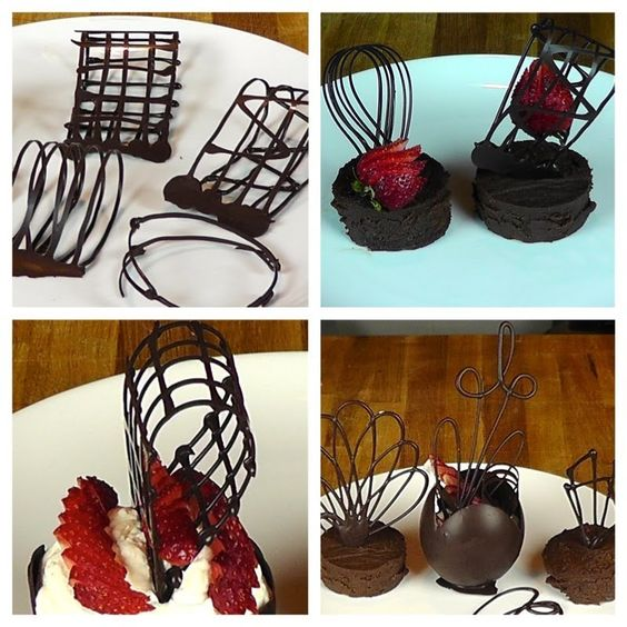 Chocolate Cake Decoration Templates : Chocolate Garnishes-Chocolate Decorations-Pate a Glacer ...