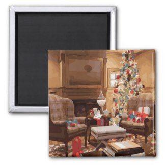 Beautiful Christmas Tree Living Room Scene Refrigerator Magnets