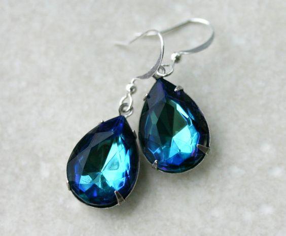 Blue Green Crystal Earrings Teardrop by robinhoodcouture on Etsy