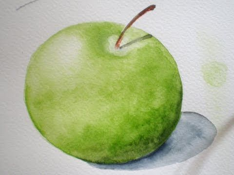 Learn How To Paint A Realistic Green Apple In Watercolour Easily