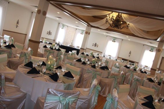 Elegant mint and navy wedding decor