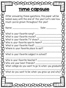 FREEBIE Time Capsule worksheet for your kids to complete on the first day of school!