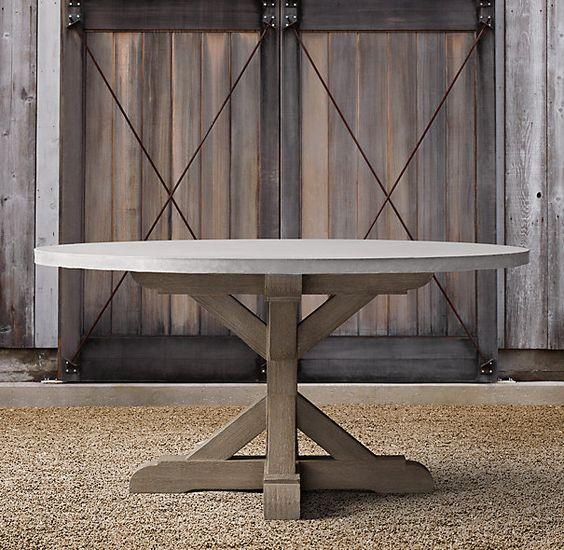 Belgian Trestle Weathered Concrete  Teak Round Dining Table For - Weathered dining table