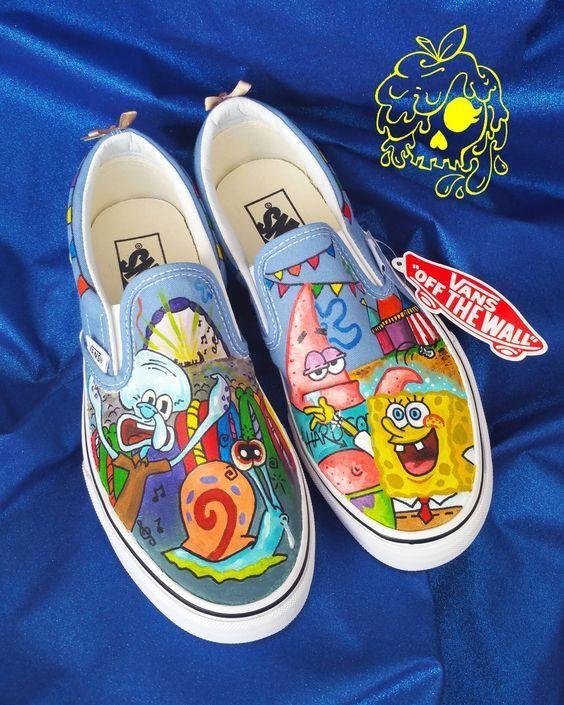 Custom Painted Spongebob Inspired shoes
