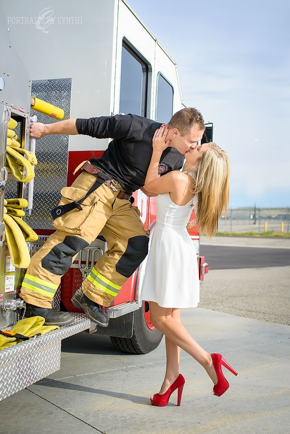 Firefighter engagement photos, fire truck, engagement portraits, boise Idaho wedding photographer, firefighter, Portraits by Cynthi
