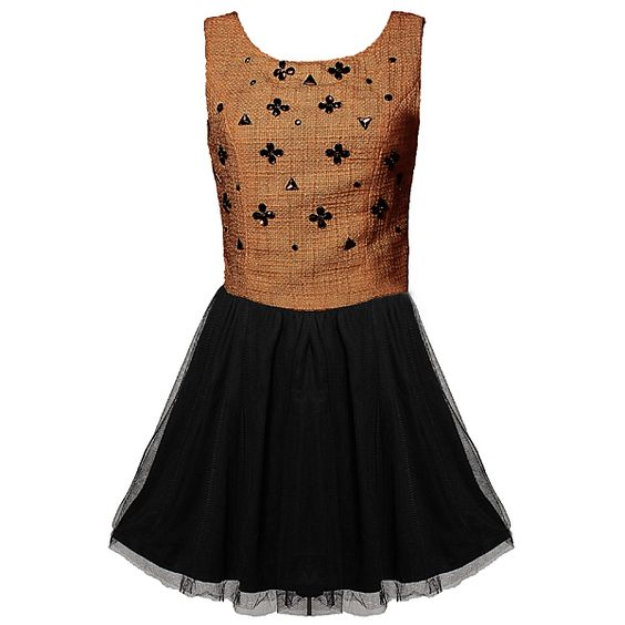 Lady's Brown Lucky Claddagh Beading Sweet Vest Bubble Dress Free Shipping! - US$31.29